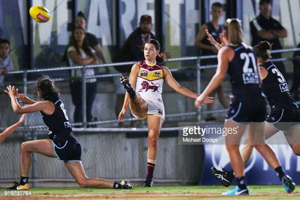 Sophie Conway of the Lions kicks the ball for a goal during the round three AFLW match between the Carlton Blues and the Brisbane Lions at Ikon Park...