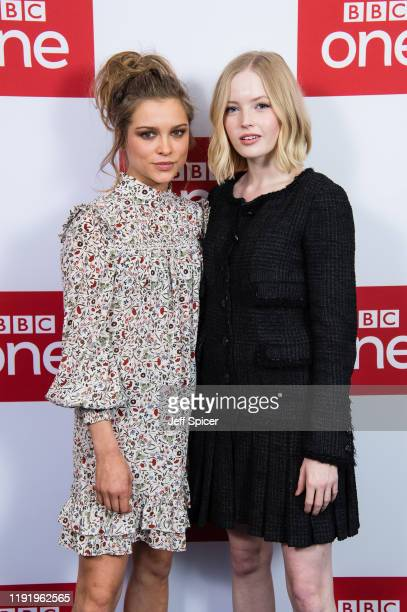 Sophie Cookson and Ellie Bamber attend the UK premiere of The Trial Of Christine Keeler at Content London on December 04 2019 in London England