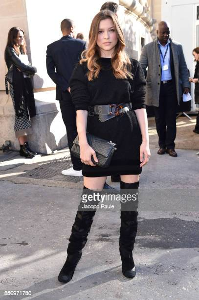 Sophie Cookson is seen arriving at Chanel show during Paris Fashion Week Womenswear Spring/Summer 2018on October 3 2017 in Paris France
