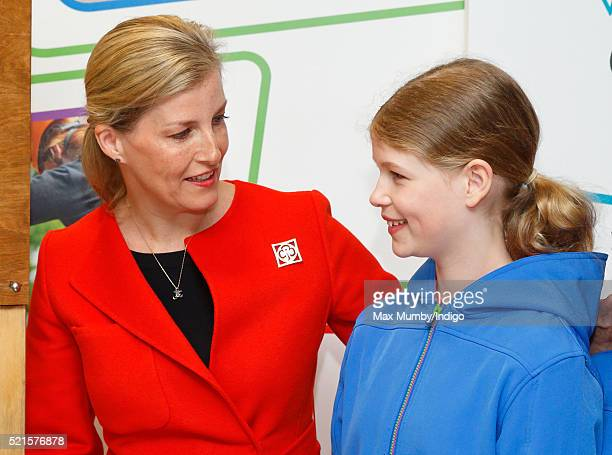 Sophie Countess of Wessex accompanied by her daughter Lady Louise Windsor opens the newly refurbished Girlguiding head office on April 16 2016 in...