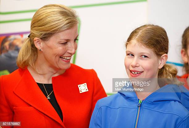 Sophie, Countess of Wessex accompanied by her daughter Lady Louise Windsor opens the newly refurbished Girlguiding head office on April 16, 2016 in...