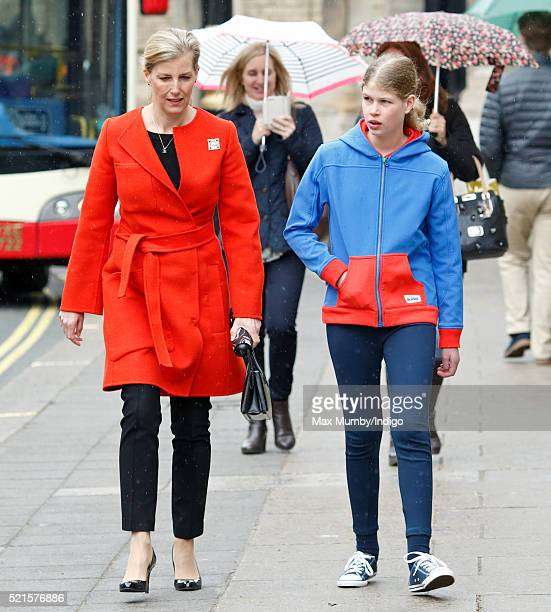 Sophie, Countess of Wessex accompanied by her daughter Lady Louise Windsor departs after opening the newly refurbished Girlguiding head office on...