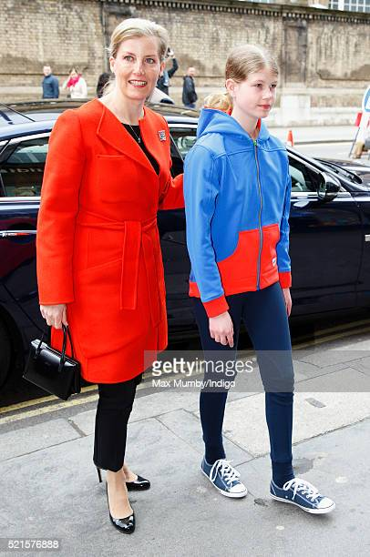 Sophie Countess of Wessex accompanied by her daughter Lady Louise Windsor arrives to open the newly refurbished Girlguiding head office on April 16...