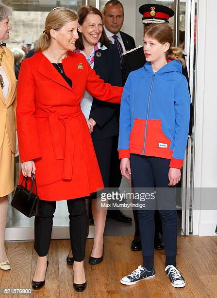 Sophie Countess of Wessex accompanied by her daughter Lady Louise Windsor open the newly refurbished Girlguiding head office on April 16 2016 in...