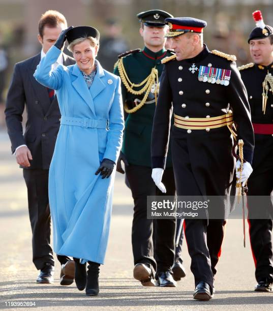 Sophie Countess of Wessex accompanied by Major General Duncan Capps represents Her Majesty The Queen as the Reviewing Officer during The Sovereign's...