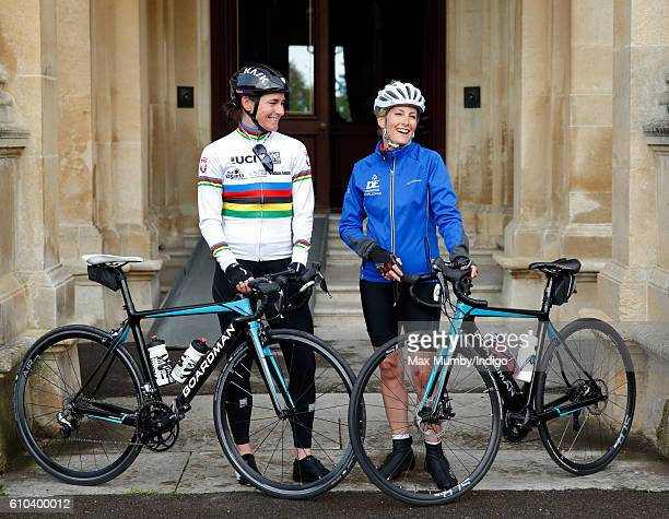 Sophie Countess of Wessex accompanied by Paralympic gold medalist Dame Sarah Storey pose for a photograph before departing RAF Halton on the last day...