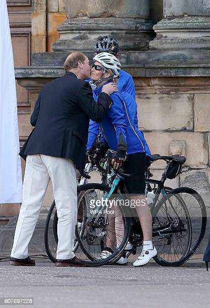 Sophie, Countess of Wessex and a team of riders are waved off by Prince Edward, Earl of Wessex as they depart the Palace of Holyroodhouse as they...