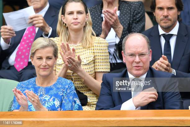 Sophie Countess of Wessex and Albert II Prince of Monaco attend day nine of the Wimbledon Tennis Championships at All England Lawn Tennis and Croquet...