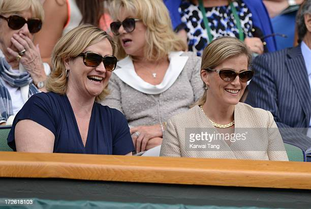 Sophie Countess of Wessex and Annabelle Galletley attend Day 10 of the Wimbledon Lawn Tennis Championships at the All England Lawn Tennis and Croquet...