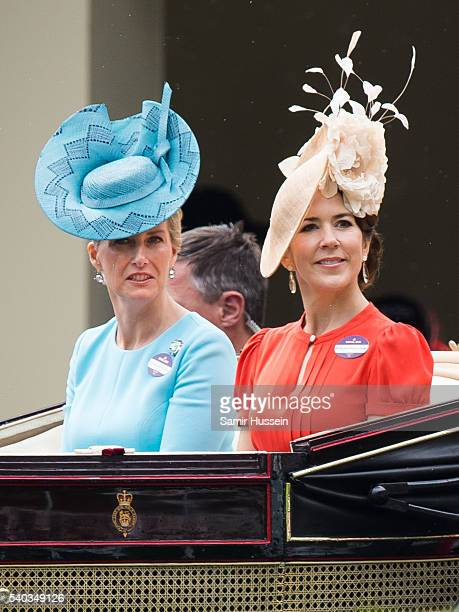 Sophie Countess of Wessex and Crown Princess Mary of Denmark arrive by carrieage for day 2 of Royal Ascot at Ascot Racecourse on June 8, 2016 in...