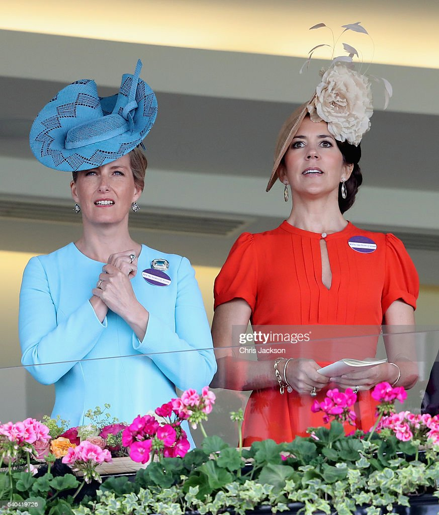 Sophie, Countess of Wessex and Crown Princess Mary of Denmark attend the second day of Royal Ascot at Ascot Racecourse on June 15, 2016 in Ascot, England.