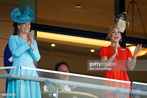 Sophie Countess of Wessex and Crown Princess Mary of Denmark watch the racing as they attend day 2 of Royal Ascot at Ascot Racecourse on June 15 2016...