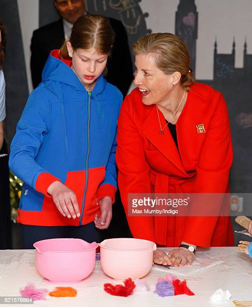 Sophie Countess of Wessex and daughter Lady Louise Windsor try felt making as they open the newly refurbished Girlguiding head office on April 16...