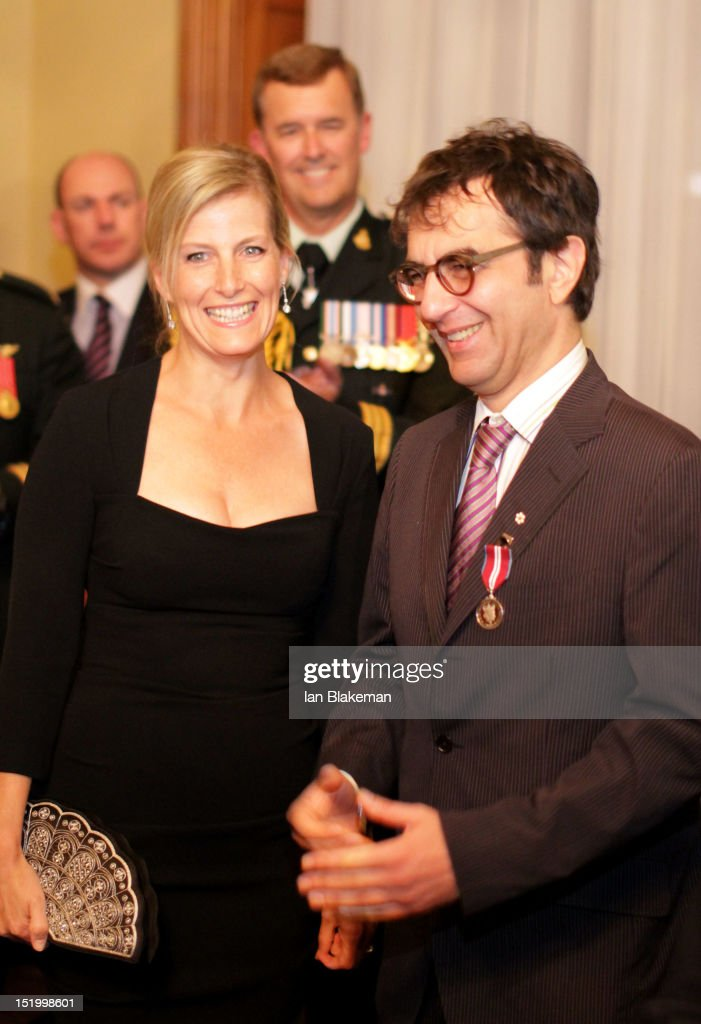 Sophie, Countess of Wessex (L) and Director Atom Egoyan attend the presentation of the Queen's Diamond Jubilee Medals during the 2012 Toronto International Film Festival at Queen's Park on September 14, 2012 in Toronto, Canada.