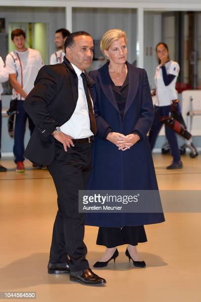 Sophie Countess Of Wessex and Ghani Yallouz Director of INSEP visit INSEP on October 2 2018 in Paris France Prince Edward Earl Of Wessex and Sophie...