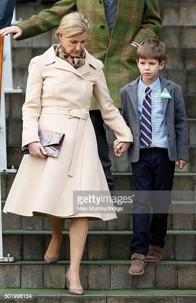 Sophie Countess of Wessex and James Viscount Severn attend the Christmas Racing Weekend at Ascot Racecourse on December 19 2015 in Ascot England