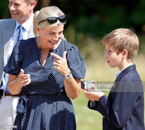 Sophie, Countess of Wessex and James, Viscount Severn toast marshmallows as they visit The Wild Place Project at Bristol Zoo on July 23, 2019 in...