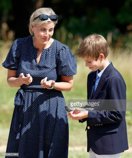 Sophie Countess of Wessex and James Viscount Severn toast marshmallows as they visit The Wild Place Project at Bristol Zoo on July 23 2019 in Bristol...