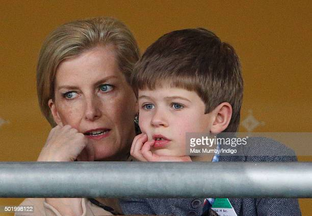 Sophie Countess of Wessex and James Viscount Severn watch the racing as they attend the Christmas Racing Weekend at Ascot Racecourse on December 19...