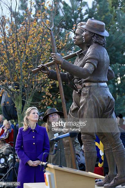 Sophie Countess of Wessex and Julie Scott WLA Tribute Project Coordinator view the new memorial to honour women who served in the Land Army during...