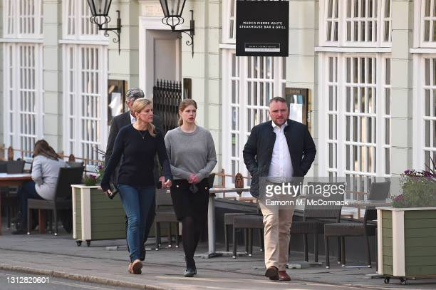Sophie, Countess of Wessex and Lady Louise Windsor are seen walking through Windsor on April 16, 2021 in Windsor, United Kingdom. The Queen announced...