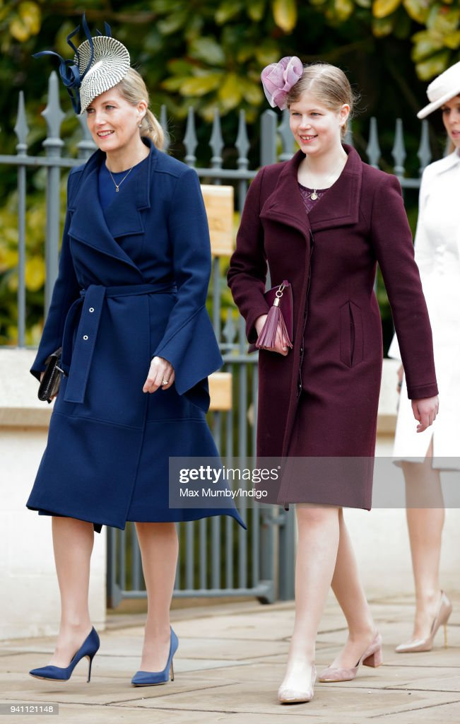 Sophie, Countess of Wessex and Lady Louise Windsor attend the traditional Easter Sunday church service at St George's Chapel, Windsor Castle on April 1, 2018 in Windsor, England.