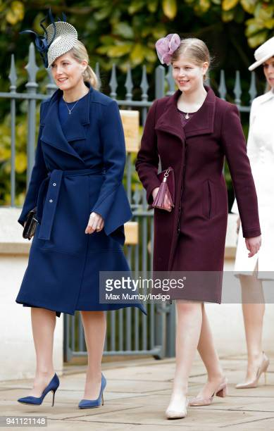 Sophie, Countess of Wessex and Lady Louise Windsor attend the traditional Easter Sunday church service at St George's Chapel, Windsor Castle on April...