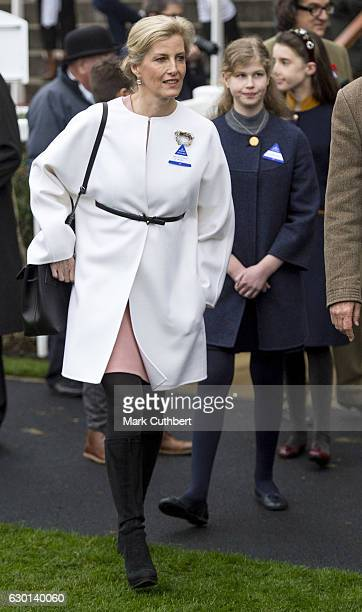 Sophie Countess of Wessex and Lady Louise Windsor attend the Christmas Racing Weekend at Ascot Racecourse on December 17 2016 in Ascot England