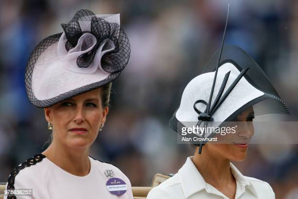 Sophie Countess of Wessex and Meghan Duchess of Sussex attend day 1 of Royal Ascot at Ascot Racecourse on June 19 2018 in Ascot England