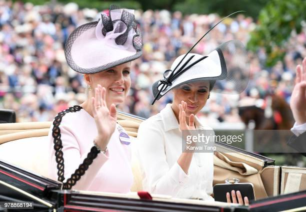 Sophie Countess of Wessex and Meghan Duchess of Sussex attend Royal Ascot Day 1 at Ascot Racecourse on June 19 2018 in Ascot United Kingdom