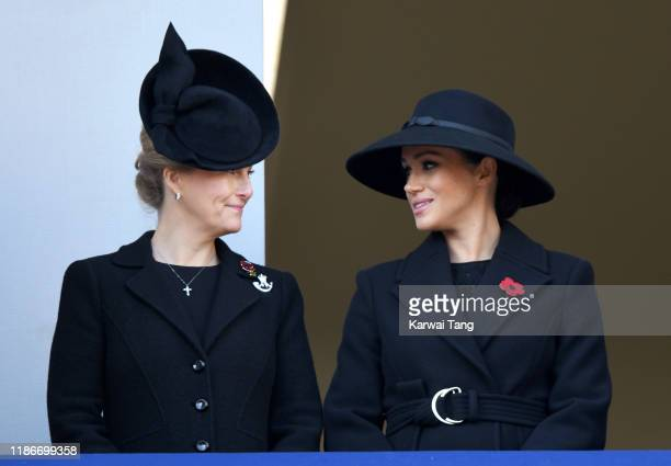 Sophie Countess of Wessex and Meghan Duchess of Sussex attend the annual Remembrance Sunday memorial at The Cenotaph on November 10 2019 in London...