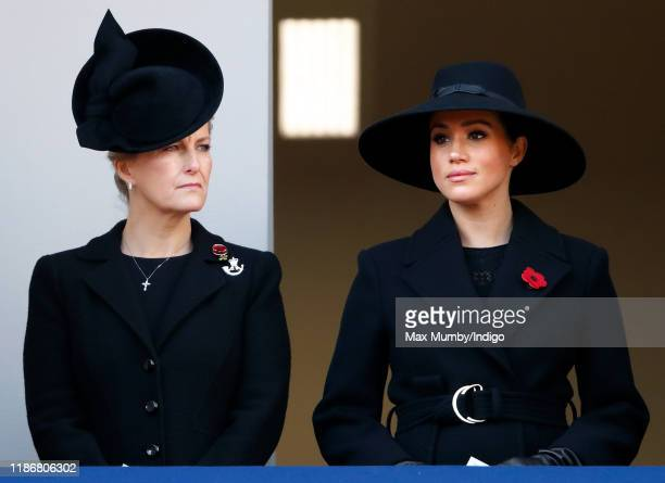 Sophie Countess of Wessex and Meghan Duchess of Sussex attend the annual Remembrance Sunday service at The Cenotaph on November 10 2019 in London...