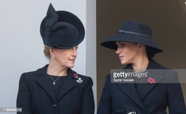 Sophie, Countess of Wessex and Meghan, Duchess of Sussex attend the annual Remembrance Sunday memorial at The Cenotaph on November 10, 2019 in...