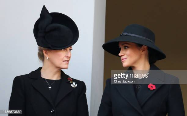 Sophie Countess of Wessex and Meghan Duchess of Sussex attends the annual Remembrance Sunday memorial at The Cenotaph on November 10 2019 in London...