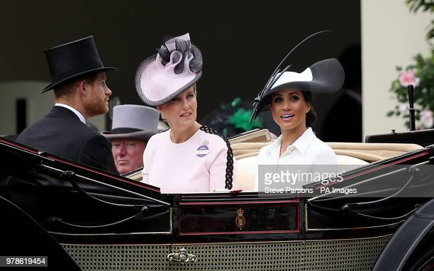 Sophie Countess of Wessex and Meghan Duchess of Sussex with Prince Harry Duke of Sussex arriving during day one of Royal Ascot at Ascot Racecourse