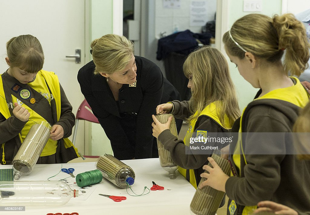Sophie, Countess of Wessex and President of Girlguiding visits the 5th Frimley Brownies on January 15, 2014 in Frimley, England.