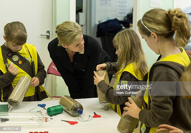 Sophie Countess of Wessex and President of Girlguiding visits the 5th Frimley Brownies on January 15 2014 in Frimley England