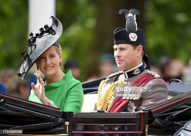 Sophie, Countess of Wessex and Prince Edward, Duke of Wessex attend Trooping The Colour, the Queen's annual birthday parade, on June 08, 2019 in...