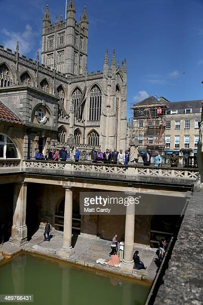 Sophie Countess of Wessex and Prince Edward Earl of Wessex are shown around the terrace of the Roman Baths during an official visit to Bath Abbey on...