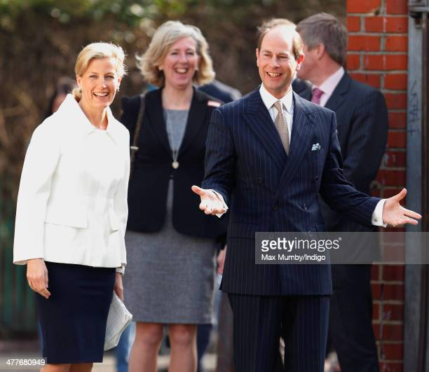 Sophie Countess of Wessex and Prince Edward Earl of Wessex arrive for a visit on The Earl's 50th Birthday to the Robert Browning Primary School...