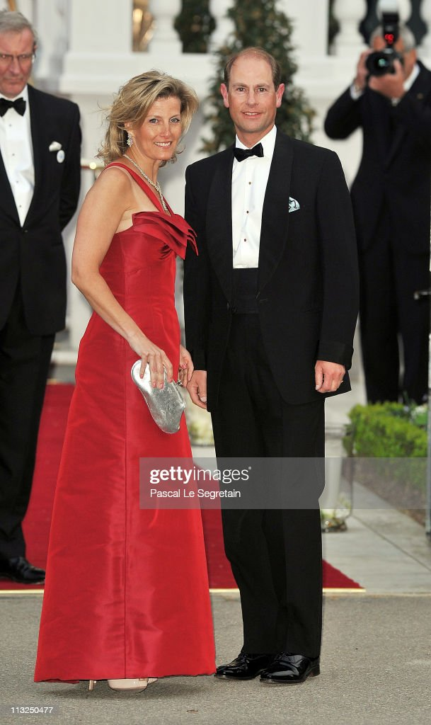 Sophie, Countess of Wessex, (L) and Prince Edward, Earl of Wessex, attend a gala pre-wedding dinner held at the Mandarin Oriental Hyde Park on April 28, 2011 in London, England.