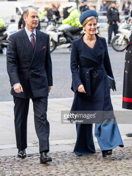 Sophie Countess of Wessex and Prince Edward Earl of Wessex attend a Service of Thanksgiving for the life and work of Sir Donald Gosling at...