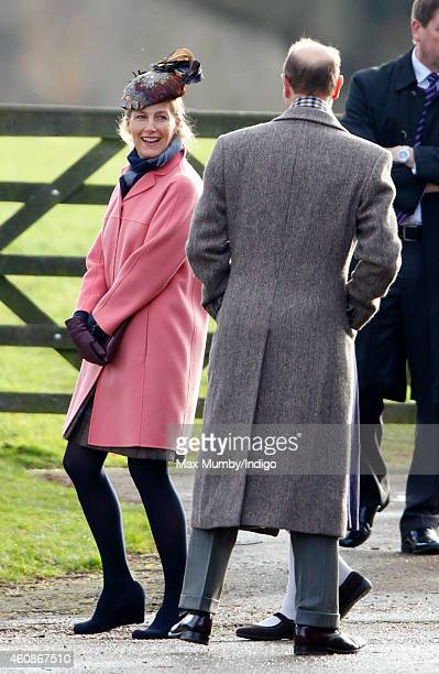 Sophie Countess of Wessex and Prince Edward Earl of Wessex attend Sunday service at St Mary Magdalene Church Sandringham on December 28 2014 in...