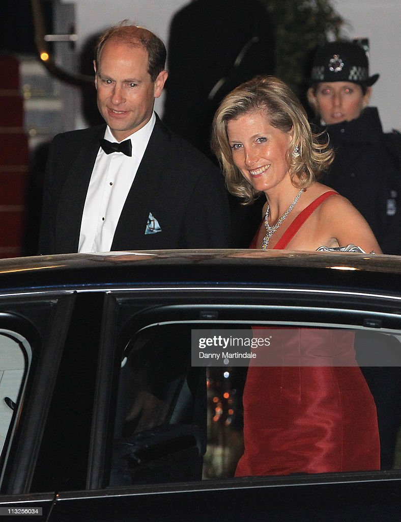 Sophie, Countess of Wessex (L) and Prince Edward, Earl of Wessex attend the pre-wedding dinner at Mandarin Oriental Hyde Park on April 28, 2011 in London, England.