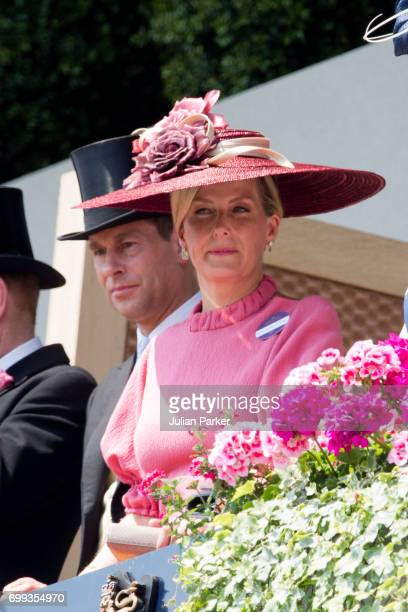 Sophie Countess of Wessex and Prince Edward Earl of Wessex attend the second day of Royal Ascot 2017 at Ascot Racecourse on June 21 2017 in Ascot...