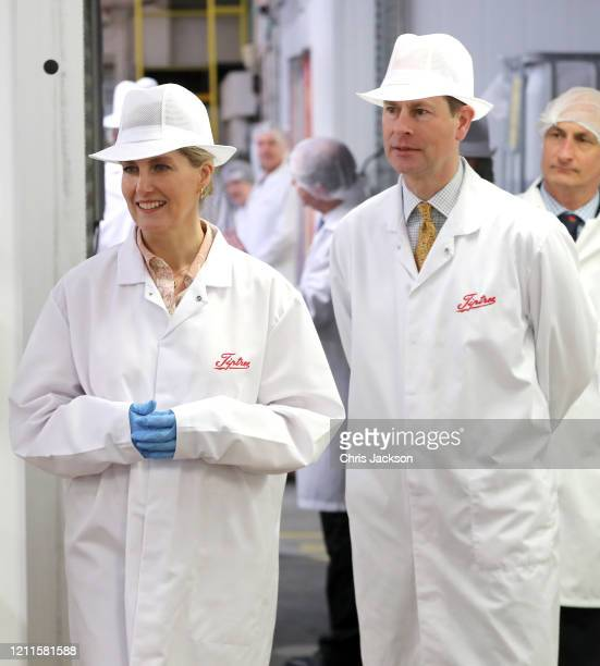 Sophie Countess of Wessex and Prince Edward Earl of Wessex during a visit to Tiptree Jam Factory on March 10 2020 in Tiptree United Kingdom The Earl...