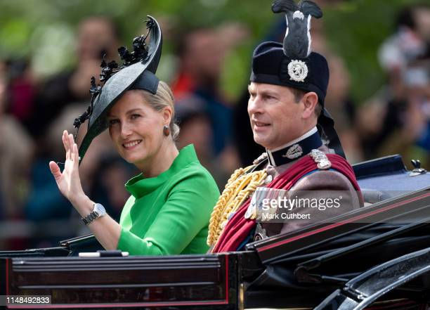 Sophie, Countess of Wessex and Prince Edward, Earl of Wessex during Trooping The Colour, the Queen's annual birthday parade, on June 8, 2019 in...