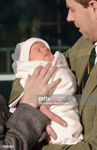 Sophie Countess of Wessex and Prince Edward Earl of Wessex leave Frimley Park Hospital with their baby son Viscount Severn their second child on...