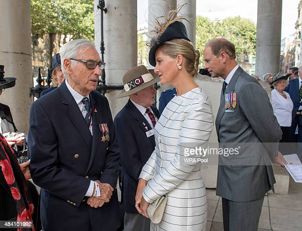Sophie Countess of Wessex and Prince Edward Earl of Wessex meet veterans during the 70th Anniversary commemorations of VJ Day at St MartinintheFields...