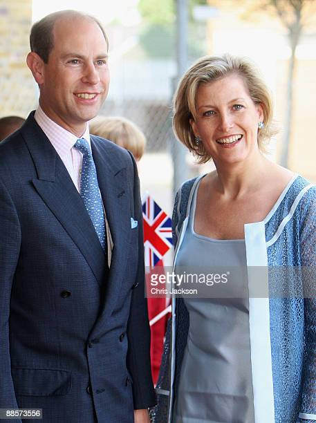 Sophie Countess of Wessex and Prince Edward Earl of Wessex pose for a photograph as they arrive for a visit to Whitton School on June 19 2009 in...